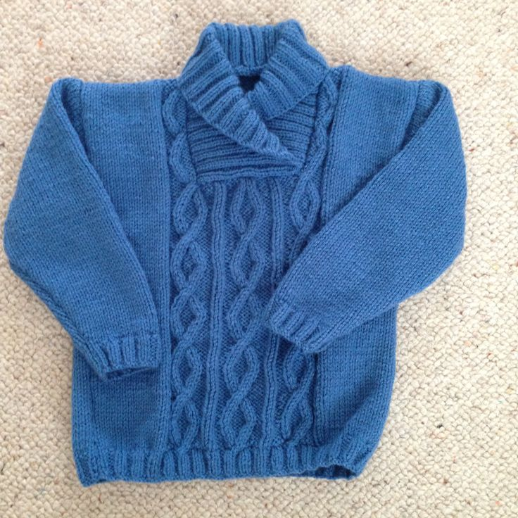 DK boys jumper, cable panel on front only, easy knit