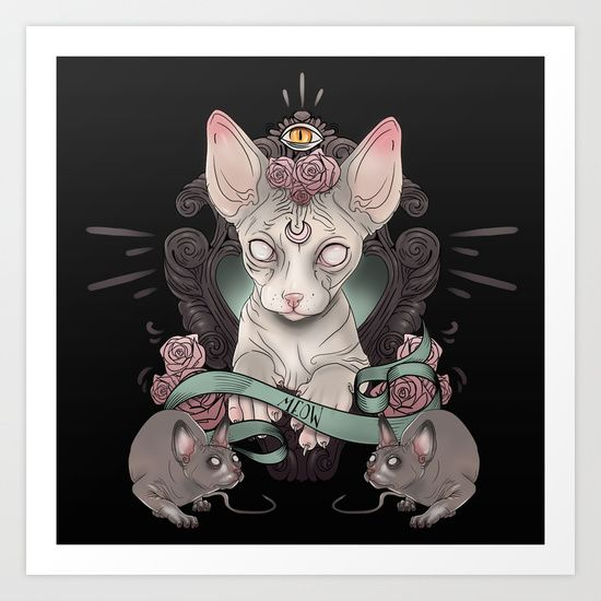 Sphynx dark - Cute sphynx cat prints by Alchemyart at society6 - https://society6.com/product/sphynx-c2h_print#1=45