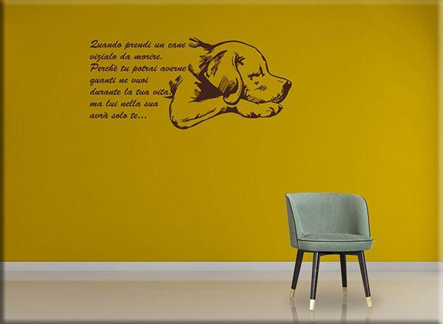 Adesivi murali frase quando prendi un cane sono decorazioni da parete ideali per arricchire l'ambiente prescelto della casa con uno design moderno unico.