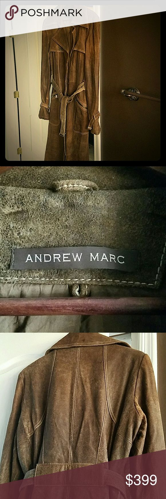 Leather Trench Coat Andrew Marc distressed leather coat Andrew Marc Jackets & Coats Trench Coats