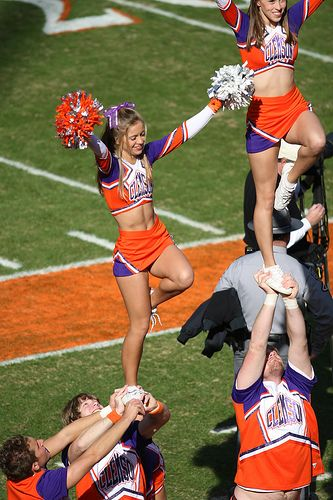 College #Cheer, Clemson cheerleaders, collegiate, stunt, liberty, game day, cheerleading