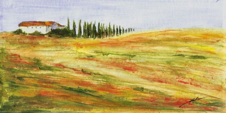 Tuscany Hill (Art d'Eco) by Maga Fabler Original acrylic painting on recycled cardboard