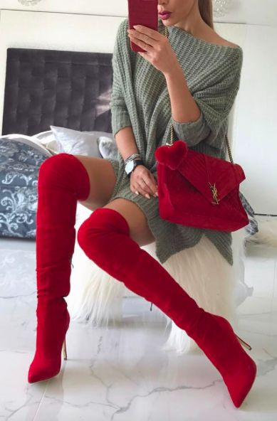 Red suede OTK boots | Stilleto heel | Red Outfits | Pin: Heatonminded