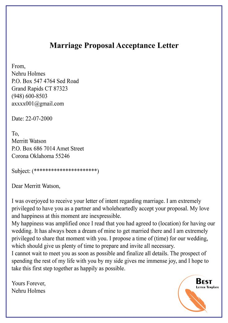 Proposal & Contract Acceptance Letter Format Sample