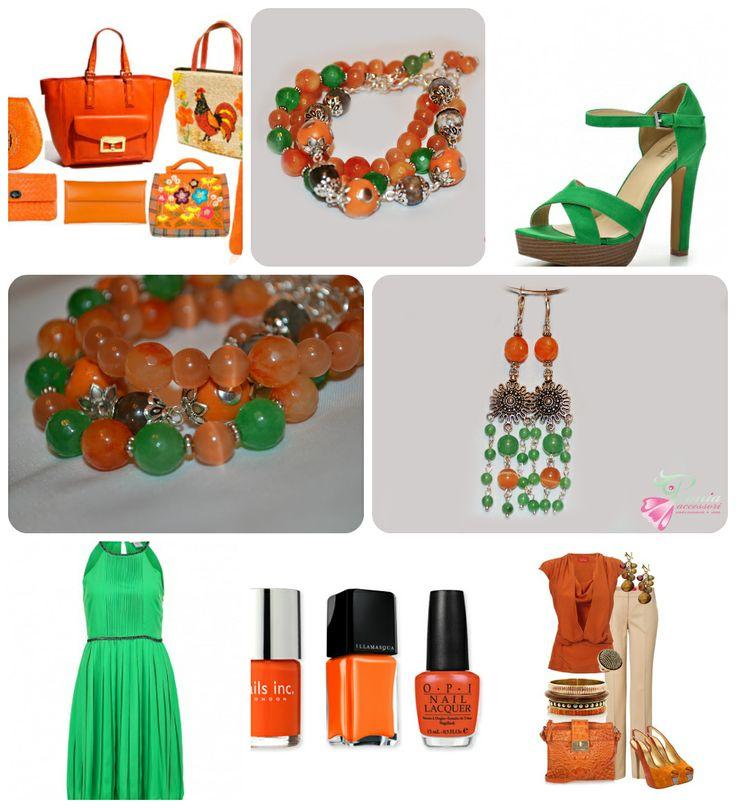 """Комплект - сет из 3-х браслетов и серьги """"Orange Ethno"""" от Peonia accessori дизайн украшений, подарки, декор .  Натуральные самоцветы: нефрит, агат, кошачий глаз, яшма, бусины в этно-стиле. Цена за комплект 1500 сом. Тел.: 0555 923935"""