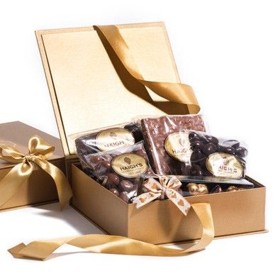 Small Gold Hamper Box - a delightful chocolate treat. #ValentinesDay #HaighsOnline