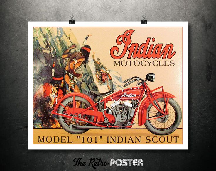1928 Indian Motorcycles: Model 101 Indian Scout - Available as Vintage Poster or Canvas / High Quality Fine Art Reproduction Giclée Print by TheRetroPoster on Etsy