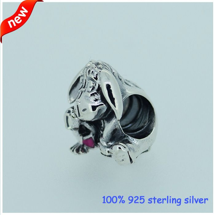 Fits Pandora Bracelets Eeyore Silver Beads With Dark Pink Enamel Original 100% 925 Sterling Silver Charm DIY Jewelry Wholesale