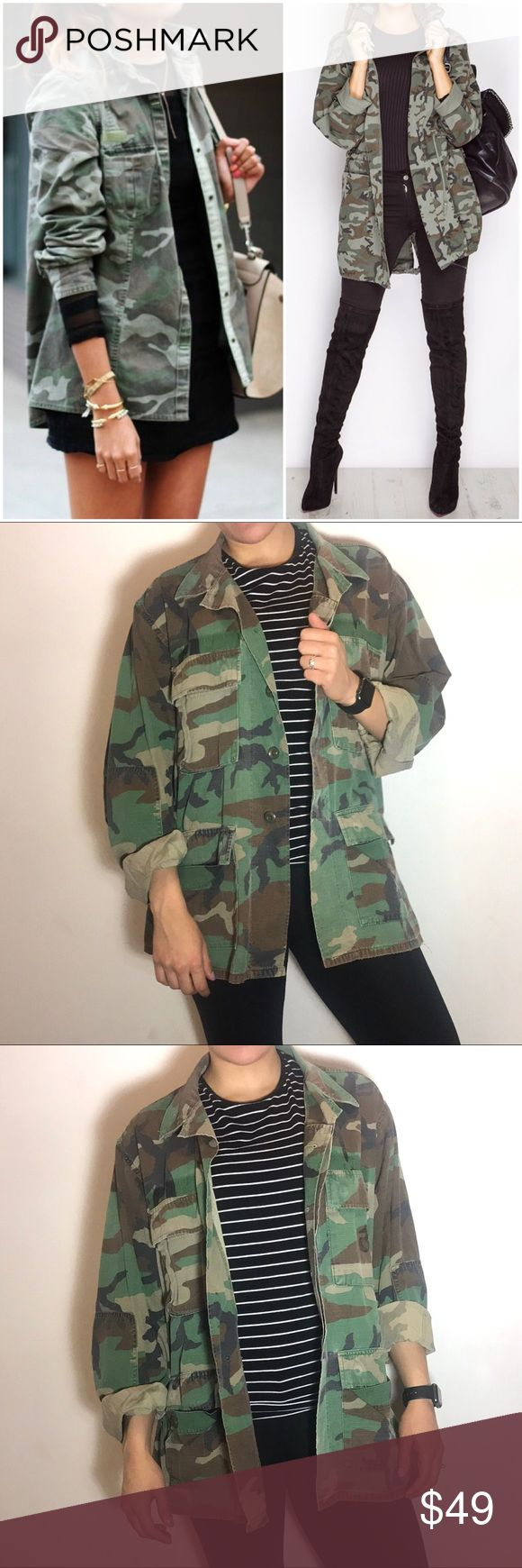 American Apparel Camo Military Jacket American Apparel Camo Military Jacket -Size M. -Oversized fit. -Excellent condition. *Cover photo for styling ideas only, actual item pictured in the other pictures.  NO Trades. Please make all offers through offer button. American Apparel Jackets & Coats