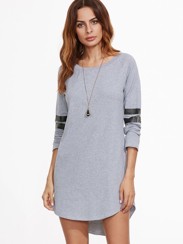 #AdoreWe #SheIn Dresses - SheIn Heather Grey Striped Sleeve Curved Hem High Low Dress - AdoreWe.com