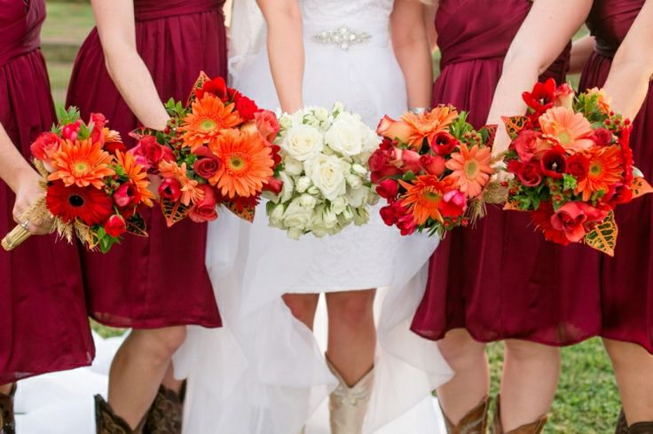 Maroon and Orange wedding flowers | cowgirl boots | bridesmaids | short wedding dress ideas