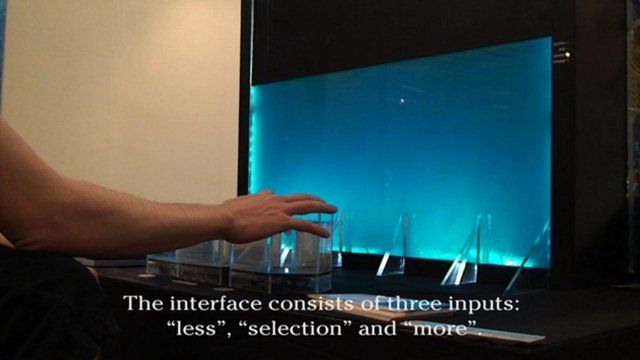 The Liquid Display is the technological concept for an ambient display based on a liquid and uprising air bubbles. In the version shown here, the user can iterate the size, rhythm and number of bubbles in the display. The interface is built of three water filled tanks. The user must only tip on the water surface to interact with the display. The Liquid Display was built as the bachelor diploma project of Nicolas Büchi at the Interaction Design Institute at the Zürcher Hochschule der Künste…