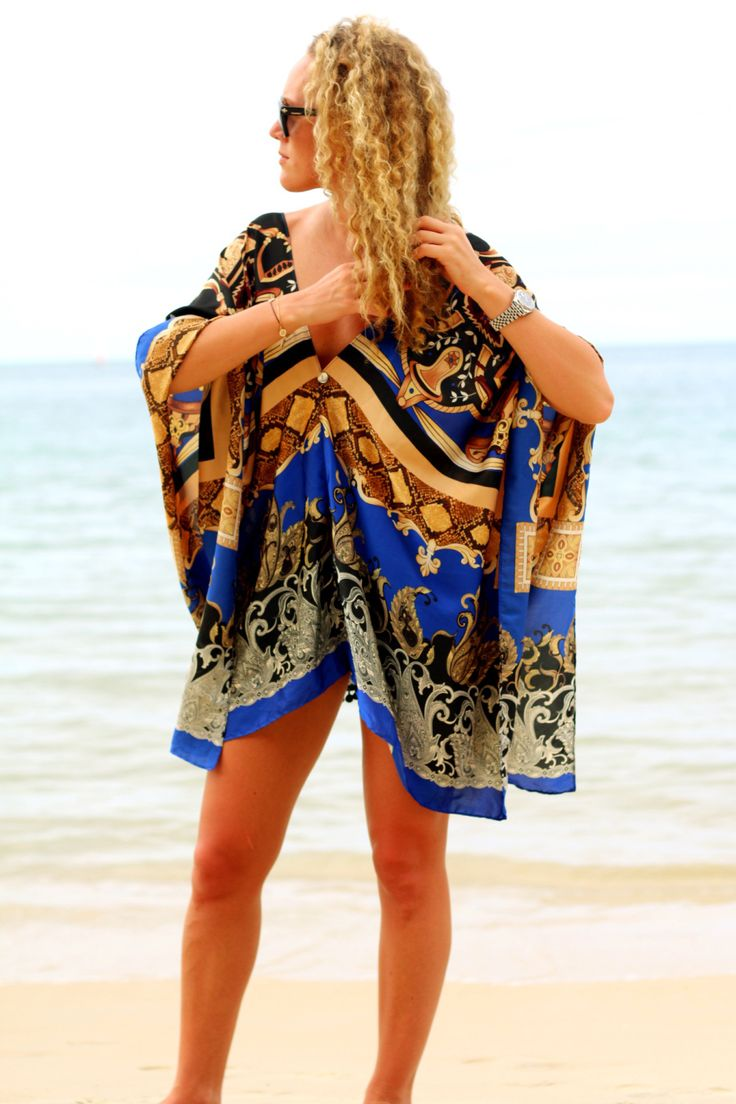 Shop Alphabet Lifestyle Luxury Beach & Resort Wear - Long Royal Blue Silk Kaftan