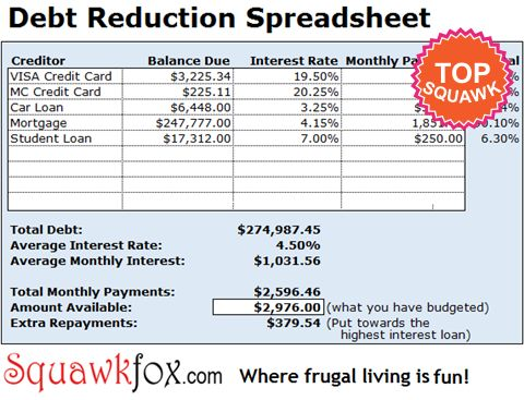 222 best Speeadsheets images on Pinterest Households, Organizers - debt reduction calculator