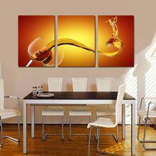 3 parça yağlıboya tuval sanat şarap cam duvar ev dekorasyon salon duvar resimleri dekorasyon modern sanat(China (Mainland))
