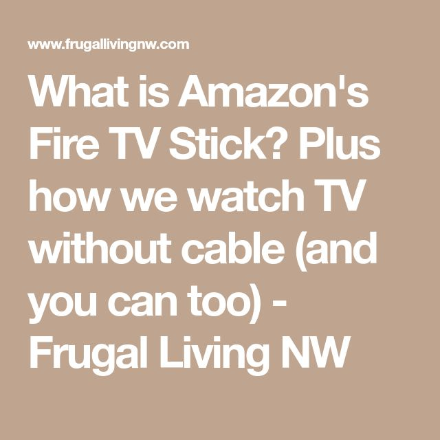 What is Amazon's Fire TV Stick? Plus how we watch TV without cable (and you can too) - Frugal Living NW