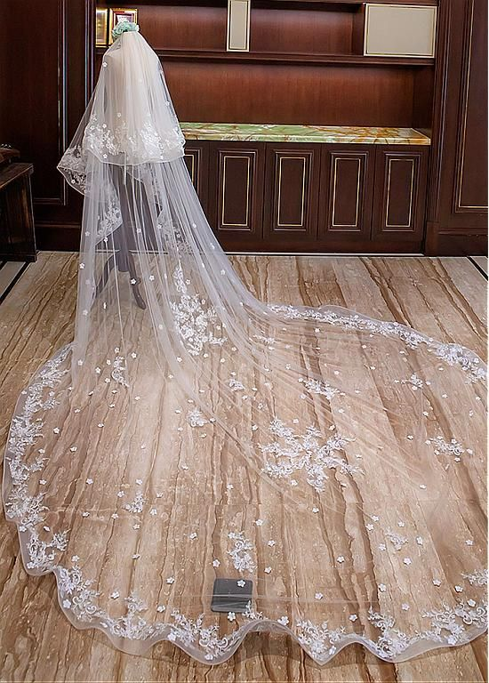 6b172cdfe5 In Stock Beautiful Cathedral Wedding Veil with Lace Appliques -  Adasbridal.com