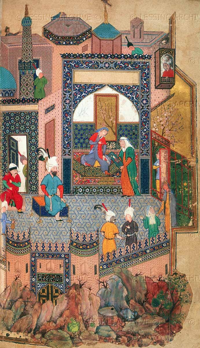 Nushaba recognising Iskandar by his portrait. (Inscription: The gate of the afflicted ones through which God comes). A miniature painting from a fifteenth century manuscript of Nezami's Khamsa ('Five Poems'). Herat, Afghanistan; 1442 (manuscript), 1535-40 (folio) Shelfmark: Add. 25900 Page Folio Number: f.245v  The British Library, London, Great Britain