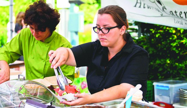 hearty catering serves up gluten free and vegetarian meals at the Toronto Botanical Garden Organic Farmers Market