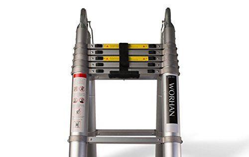 WORHAN® Echelle Télescopique Aluminium Anodisé Modulable Pliable Polyvalente Escabeau Solide AVEC DES ANNEAUX EN ALUMINIUM: Hauteur: 500cm.…
