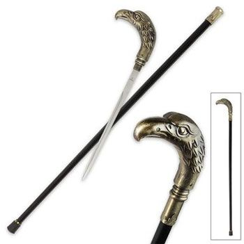 Golden Eagle Sword Cane for sale features an exceptional design that blends the patriotic face of an eagle with a traditional cane. The top of the cane is an aluminum golden-colored eagle. Use the head of the popular Golden Eagle Sword Cane to unscrew the 11 ¼ inch stainless steel blade contained inside. The cane measures 35 inches in all. The black aluminum scabbard is lightweight and features a rubber foot or ferrule.