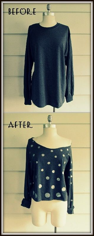 DIY Polka Dot, Cropped Shirt