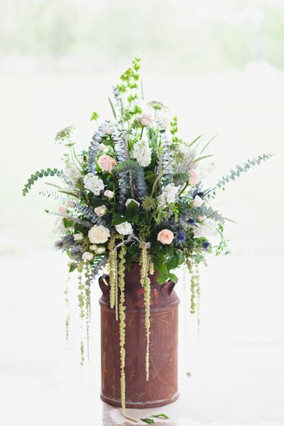 pretty blues + pinks in a rusted can | Flora and Fauna #wedding