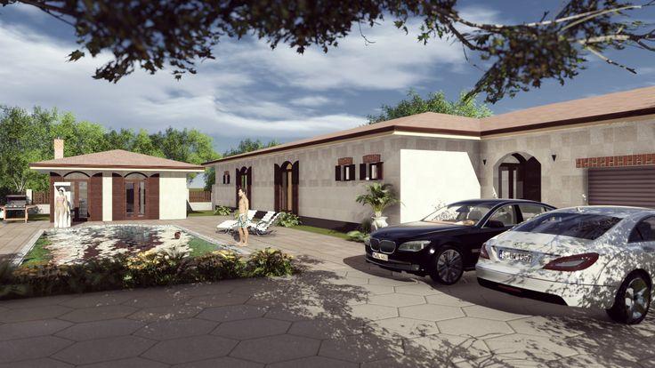 Casa stil mediteranean pe parter cu piscina si garaj. Bungalow