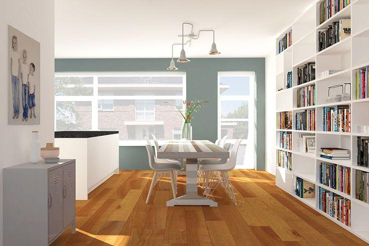 Moderne woonkamer met sloophouttafel Piet Hein Eek en lamp van &tradition in grijs en petrol tinten   Styling Adrianne van Dijken Interieuradvies