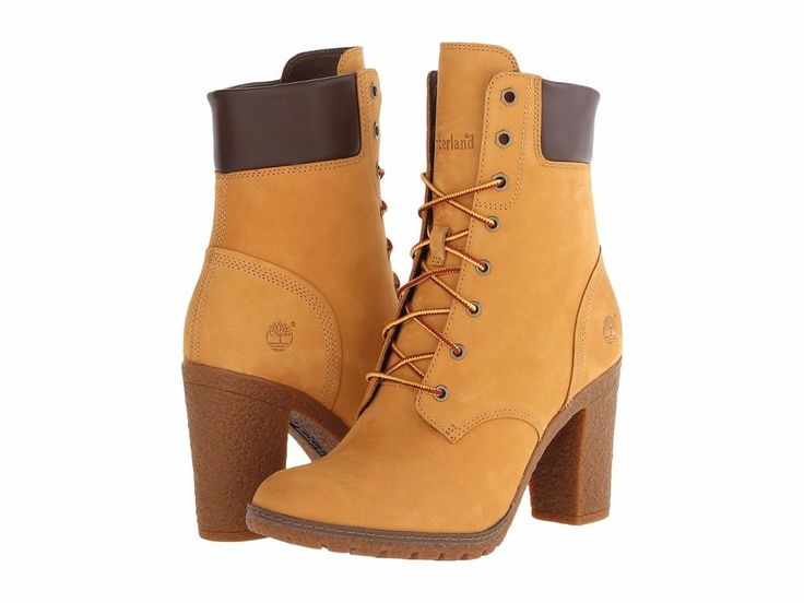 "TIMBERLAND SALE Glancy 6"" Wheat Nubuck Leather Booties Lace Heeled Boots 9 M #Timberland #AnkleBoots"