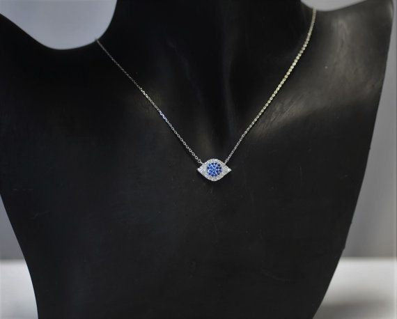 Evil Eye CZ Evil Eye Necklace Blue and clear crystal evil