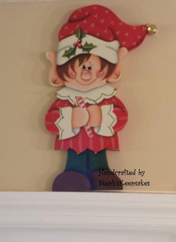Hand painted Holiday Elf Door Hanger, Door Hugger
