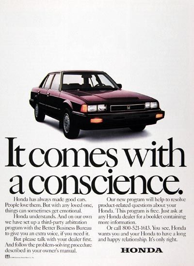 1984 Honda Accord Sedan original vintage advertisement. It comes with a conscience. Honda has always made good cars. People love them.: