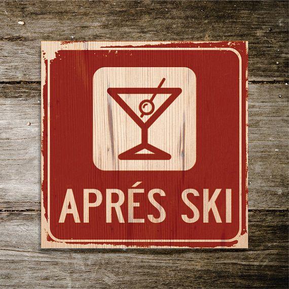 APRES SKI Original Alpine Graphics Illustration on wood - made to order - choose a size