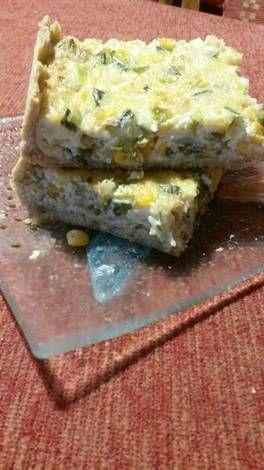 Tarta de puerros, choclo y cebolla