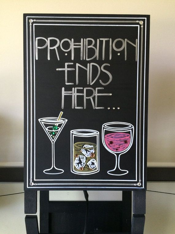 Art Deco-Roaring Twenties-Vintage-Great Gatsby Wedding- Prohibition Ends Here Quote Sign. Wow Your Guests with this Handpainted Crystal Sign