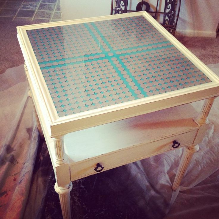 The Penny Table! Top Painted A Turquoise Blue, 50 Pennies Inlay With Gold  Dust