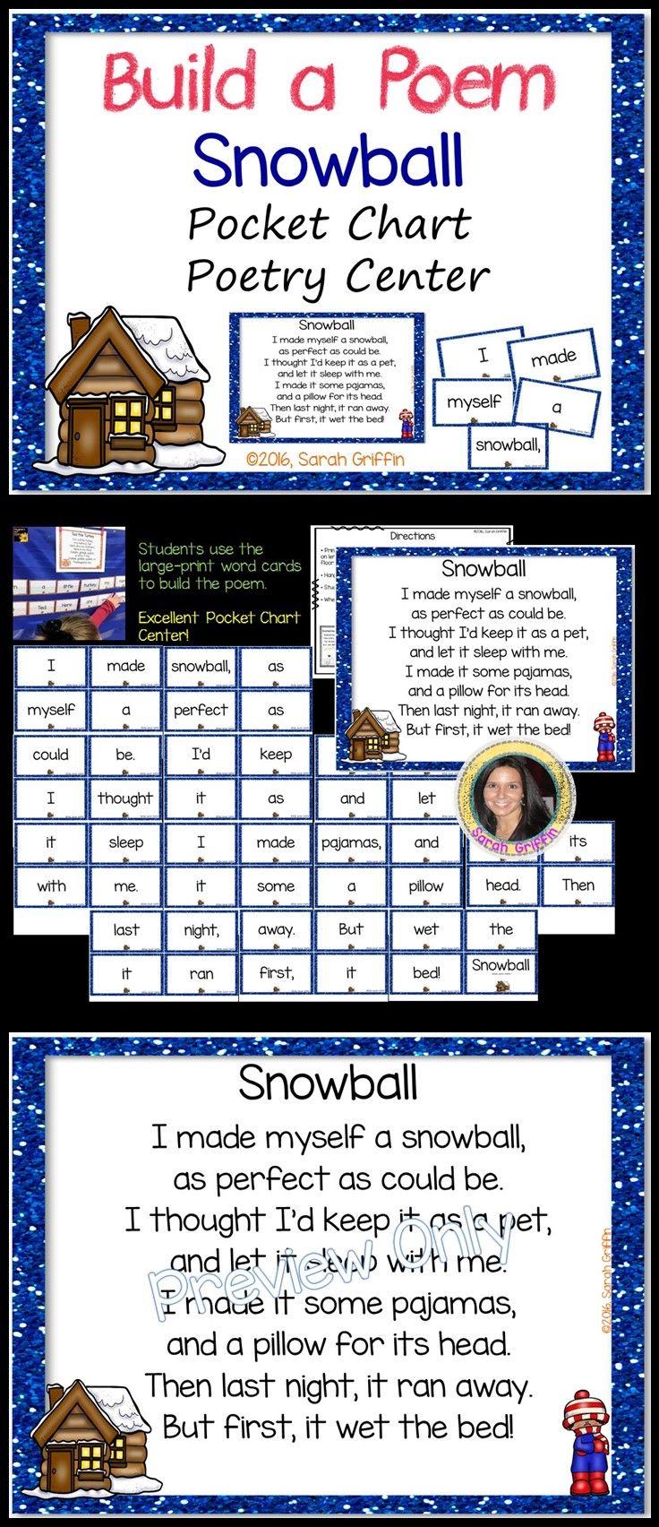 Snowball | Winter Poem for Kids | Build a Poem | Pocket chart center | poetry center | funny poems for kids