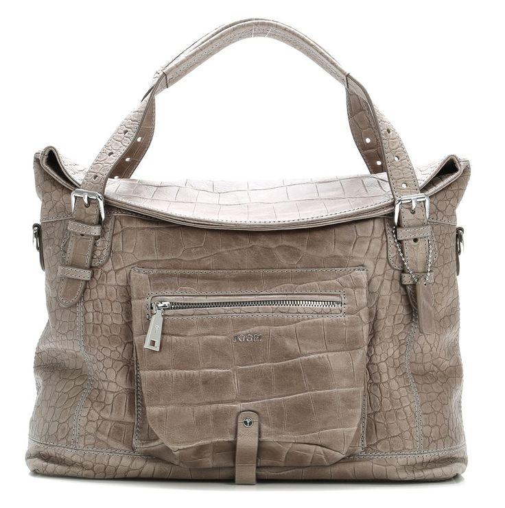 wardow.com - Joop!, Croco Soft Odessa Handtasche Leder hellgrau 38 cm