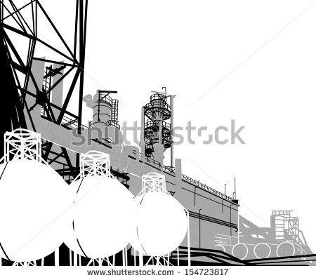 Industrial Buildings. Raster illustration of plant or factory. by Gorbash Varvara, via Shutterstock