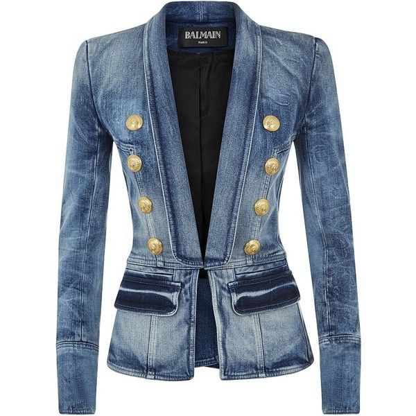 Balmain Denim Blazer (16852230 PYG) ❤ liked on Polyvore featuring outerwear, jackets, blazers, coats, tops, blue shawl, balmain blazer, denim blazer, balmain and shawl jacket