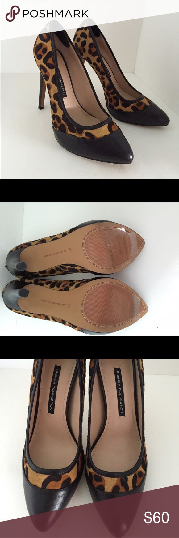 👠NWOT French Connection👠 Leopard French Connection Heels Sz41. (French Connection size chart for sz41 =10)New never worn. Black leather and real dyed calf fur. No box. French Connection Shoes Heels
