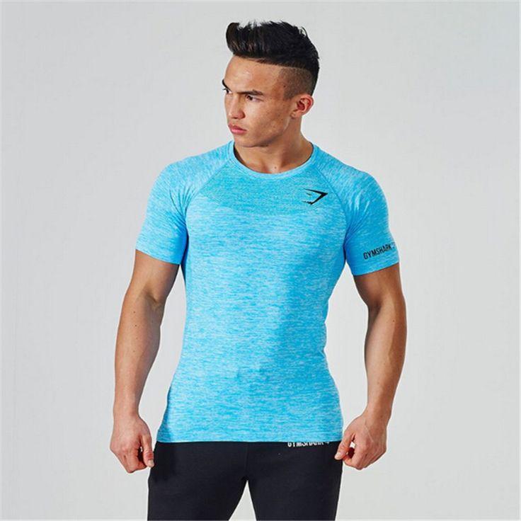 GymShark Stringer T shirt Men 2016 New Gymshark Bodybuilding and Fitness Men's Singlets  Short Sleeve T-Shirt SElastic