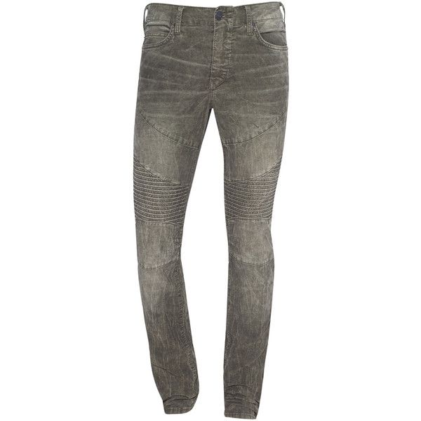 TRUE RELIGION Rocco Moto Cord Oliv Wash // Green biker jeans ($230) ❤ liked on Polyvore featuring men's fashion, men's clothing, men's jeans, mens green jeans, mens low rise slim fit bootcut jeans, mens olive green jeans, mens slim fit jeans and mens slim jeans