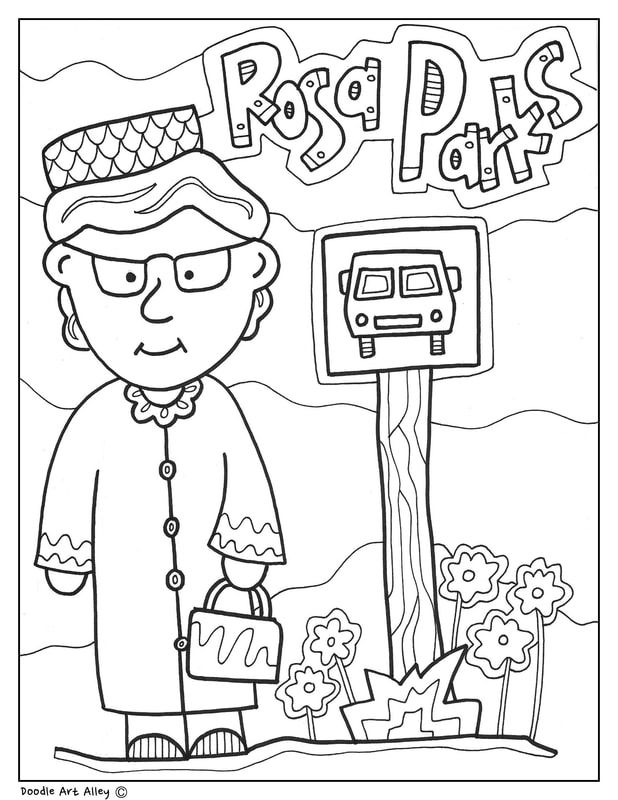 Rosa Parks Coloring Page Craft Or Poster With Mini Biography