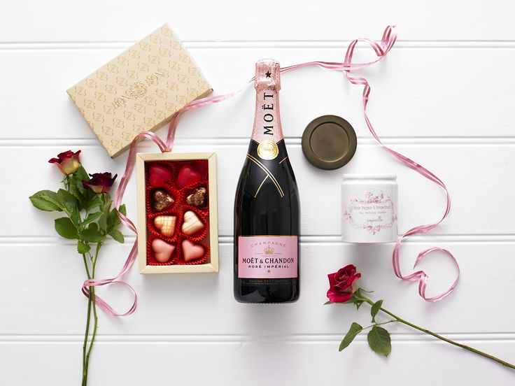 Love Is In The Air $200.00  Moet & Chandon Rose Imperial 750ml, Papinelle pink pepper & grapefruit scented soy morning candle in ceramic jar 170g (made in Australia), Bon Bon Fine Chocolate hearts 120g (made in Australia)