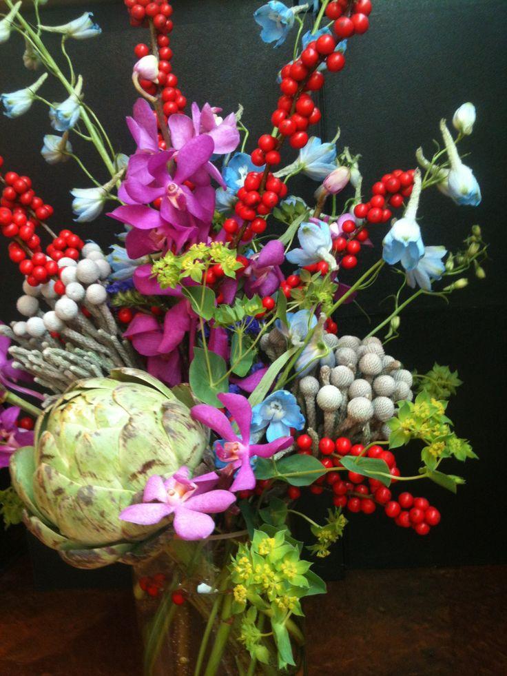 Flower arrangement with artichoke