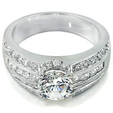 Ladies 925 Sterling Silver Simulated Diamond Wedding Engagement Ring Size 12 X