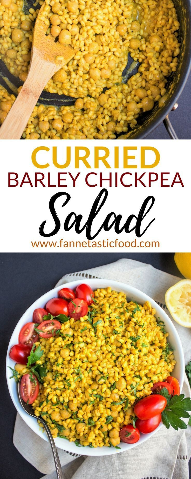 This savory, flavorful, & vegan Curried Barley Chickpea Salad is such a simple and easy side dish for any weeknight meal or impressive dinner party! | vegan side dish ideas | healthy side dish recipes | healthy dinner ideas | healthy dinner recipes | whole grain side dishes |