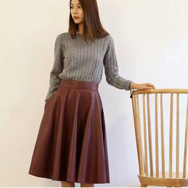 Tea Length Leather Skirt
